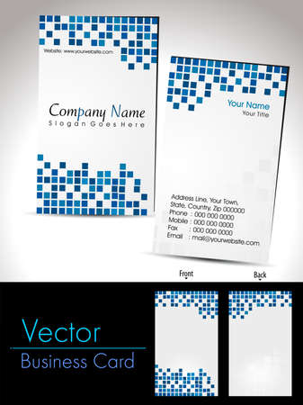 business card With blue abstract mosaic background