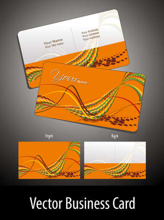 abstract orange elagant wave background professional visiting card Vector
