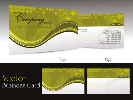 visual presentations: abstract wave and map theme background business card for professional purpose