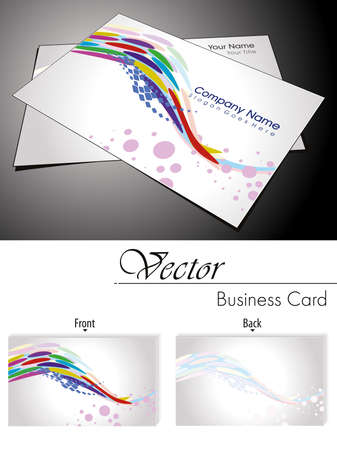 abstract gray background with colorfull wave and dots, colorfull artistic wave business card Stock Vector - 11988589