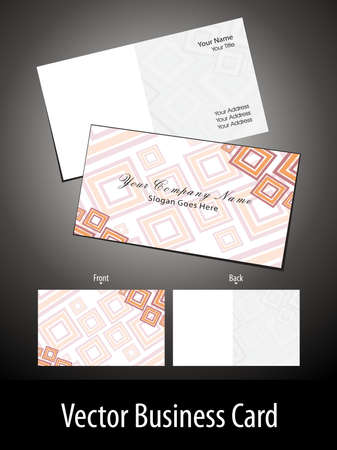 orange color square shape vector business card Vector