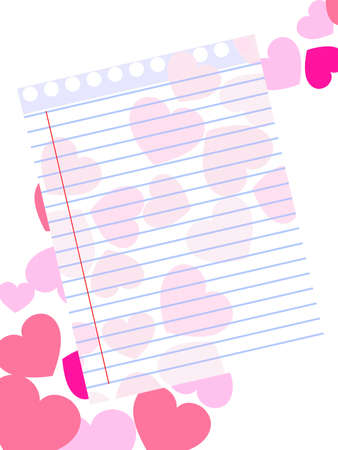 Template of a love card on pink heart shape background with blank note paper for Valentines Day and other occasions. Vector