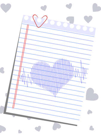 hand beats: A template of heart shape on a paper and heart beats on heart shape background for Valentines Day and other occasions.