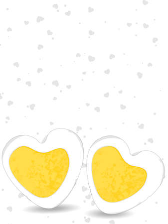 illustration of an egg in heart shape with yellow yolk on seamless heartshape background for Valentines Day and other occasions. Vector