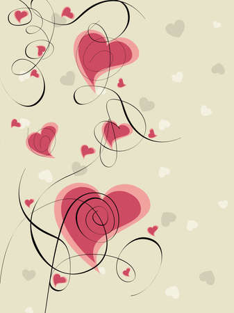 illustration of heart shape in pink color made with floral designs on seamless  background for Valentines Day and other occasions.