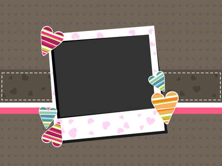 corazones: Template photo frame with colorful hearts on brown background with copy space for Valentines Day and other occasions.