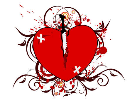illustration of a broken heart with a knife on floral white background with blood for Valentines Day. Vector