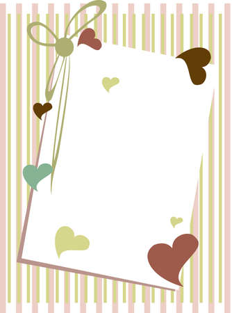 illustration of a greenting card with blank note  heaving colorful heart shapes and ribbon on straigh lines background for Valentines Day and other occasions. Illustration