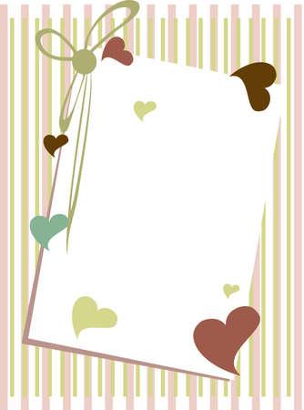to wed: illustrazione di una carta greenting con nota vuota ansante forma di cuore e nastri colorati su sfondo straigh linee per San Valentino e altre occasioni.