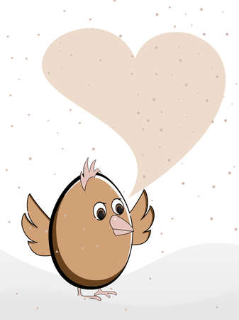 hollow: illustration of a greeting card heaving a cute bird with heart shape copy space for Valentines Day and other occasions. Illustration