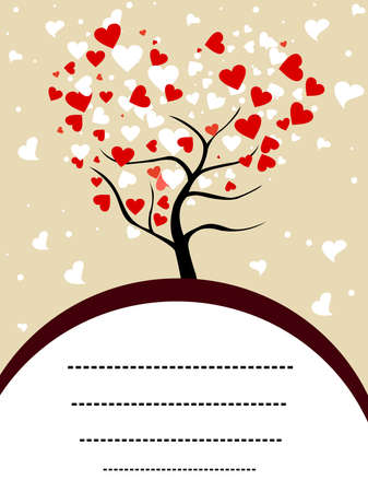 illustration of a love tree having red and white heart shapes with copy space for Valentines Day and other occasions.
