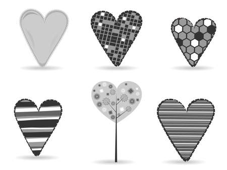 corazones: A set of diffrent styles heart shapes in black and white color on isolated background for Valentine Day and other occasions.