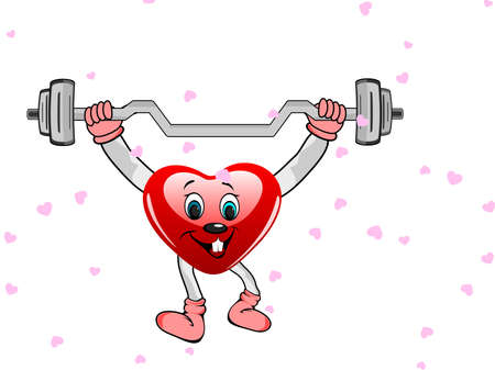 physical training: Heart in the form of funny character with the dumbbells on white background for Valentine Day and other occasions.