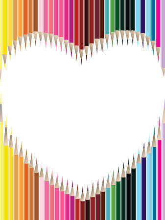 other space: Colored pencils in heart shape on white background  with copy space for Valentines Day and other occasions.. Illustration
