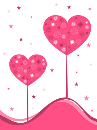 background with decorative heart shape tree in pink color with copy space and stars for Valentines Day and other occasions. Stock Vector - 11988600