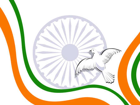 illustration of Indian tricolor flag with flying pigeon and ashok wheel on white isolatated background for Republic Day and Independence Day. Vector