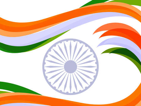 illustration of waves in Indian trio color with ashok wheel on white isolated background for Republic Day and Independence Day. Illustration