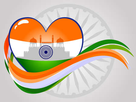constitution day: Abstract Indian heart with red-fort and waves on seamless ashok wheel background for Indepandence Day and Republic Day. Illustration