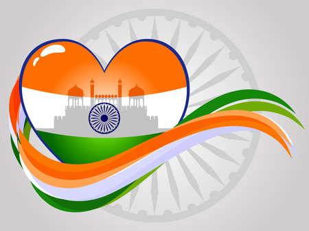 agosto: Estratto cuore indiano con rosso forte e le onde su Seamless ruota ashok per la Giornata Indepandence e la Festa della Repubblica.