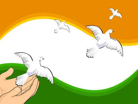 Demokratie: Abbildung Tauben fliegen auf indischer Flagge Farben Hintergrund f�r Independence Day und Tag der Republik. Illustration
