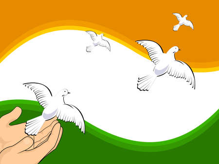 illustration flying pigeons on Indian flag colors background for Independence Day and Republic Day.