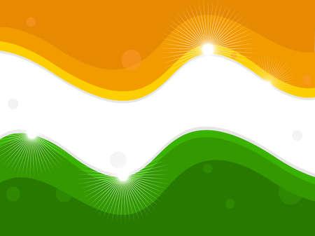 agosto: illustrazione di una bandiera nazionale indiana su sfondo onda shiney per la Festa della Repubblica e il Giorno dell'Indipendenza.