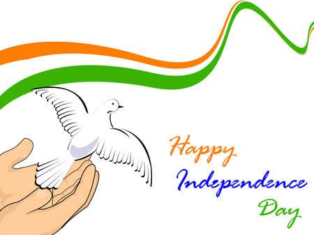 januar: Illustration der indische Trikolore mit fliegenden Taube Loslassen von den H�nden auf wei�em Hintergrund f�r isolatated Tag der Republik und Independence Day.