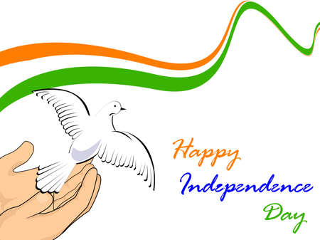 illustration of Indian tricolor flag with flying pigeon releasing from hands on white isolatated background for Republic Day and Independence Day.