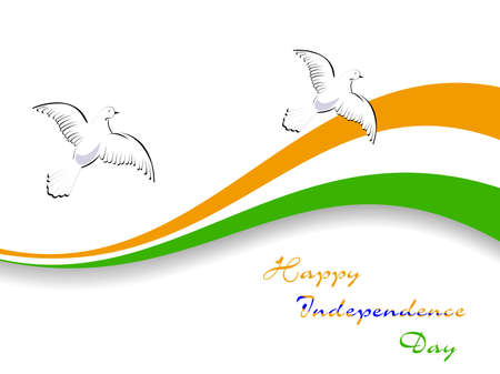 illustration of Indian tricolor flag with flying pigeon on white isolatated background for Republic Day and Independence Day.