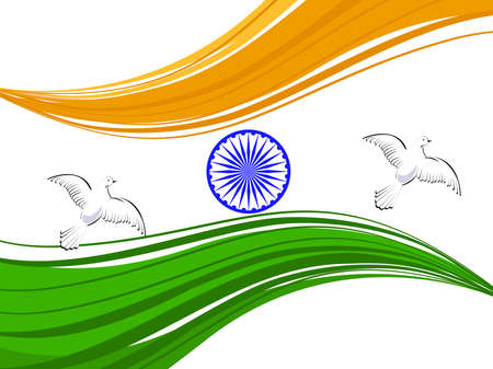 republic day: illustration of Indian tricolor flag with flying pigeon and ashok wheel on white isolatated background for Republic Day and Independence Day.