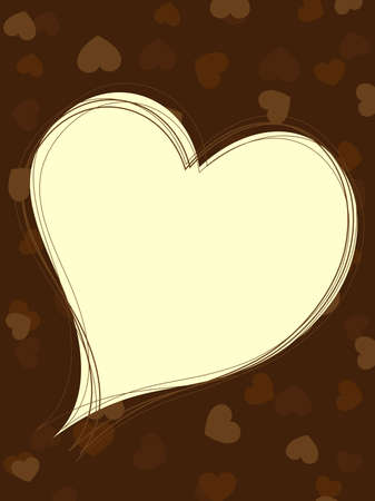 greeting card with copy space in heart shape on brown color seamless heart background for Valentines day. Vector