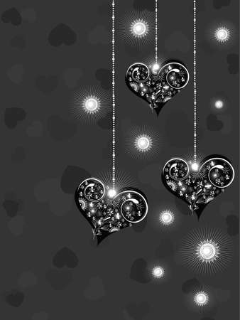 corazones: Valentine greeting card with hanging shiny hearts on black hearts shape background for Valentine Day. Illustration