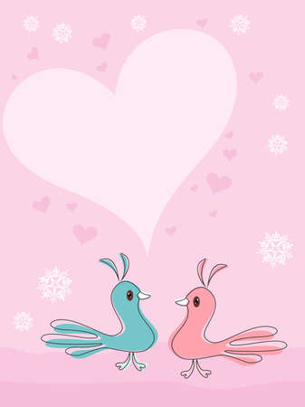 Little birds in love with hearts on pink background with space for your text, Valentine Day greeting card. Vector