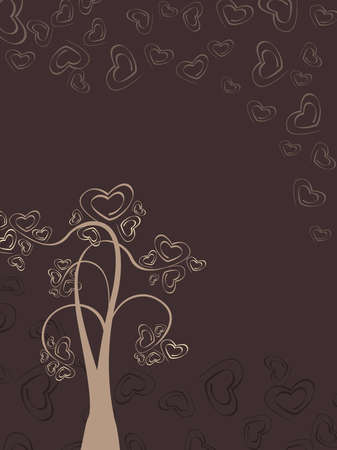 corazones: A valentine card with heart tree on brown color heart shape background for Valentines Day. Illustration