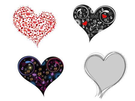 corazones: A set of creative & decorative hearts shape on white background for Valentine Day. Illustration