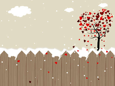 Romantic landscape background heaving valentine tree, snowflakes, clouds for Valentine Day