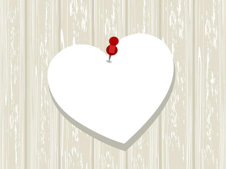 Blank white paper in heart shape stick with pin on wood board, concept theme for Valentine Day.