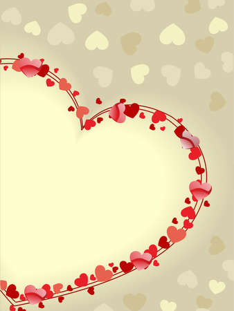 enjoy space: Beautiful greeting card with copy space in heart shape on seamless heart shape background for Valentines Day. Illustration