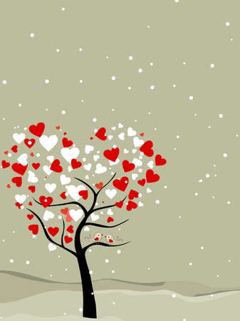 valentine tree with hearts shape, snow flakes  & love birds, greeting card for valentines day.