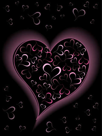 pink and black: Romantic greeting card with purple color  hearts shape card on black background.