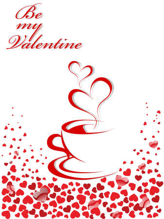 enjoy space: Abstract illustration of coffee-cup and hearts in red color for Valentine Day. Illustration