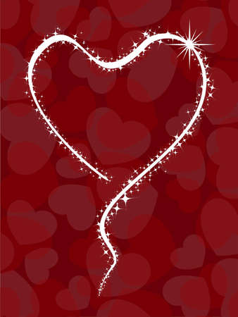 shiney: Beautiful greeting card with shiney starts in hearts shape on red color heart shapes background for Valentines Day.