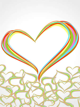 Rainbow lines crossing each other in heart shape on white background presentation for Valentine Day. Vector