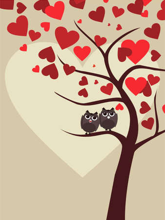 Background with couple of owls sitting on branch of Valentine tree in heart shape for Valentines Day. Vector