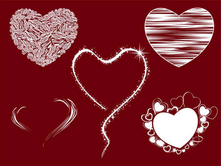 Set of five heart shape modern graphics with grunge look on red color background for Valentines Day. Vector