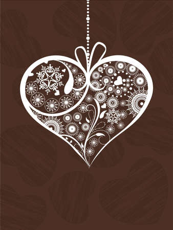 Hanging decorative heartshape in brown color  on heart shape texture background for Valentines Day.
