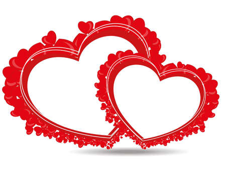 beautiful heart shape made with small hearts with copy space on white background for Valentine Day. Vector