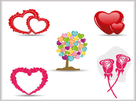 bump: Collection of detailed vector hearts,rose & valentine tree, love symbols for your design for Valentines day.