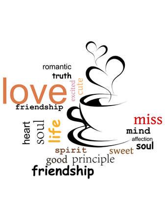witte achtergrond met capuchino & liefde woorden