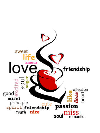 abstract romantic typography background with capuccino